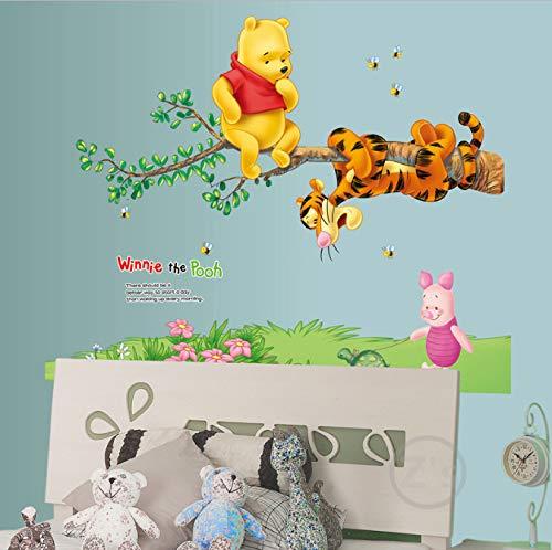 miaoqiushiyi Autocollant Winnie l'ourson Autocollant Mural Décor À La Maison De Bande Dessinée Autocollant Mural pour La Chambre d'enfants Bébé Vinyle Murale Pépinière