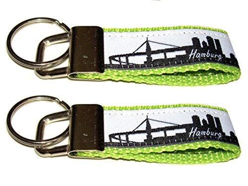 HH-NN-1968 2X Schmaler Partner Schlüsselanhänger mit Skyline - Hamburg - für Taschen, Jacken und Schlüssel in Hellgrün