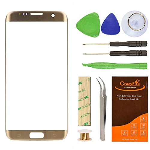 CrazyFire Replacement Front Outer Lens Glass Screen Compatible with Samsung Galaxy S7 Edge Gold with Repair Kit for G935V G935P G935F G935T G935A
