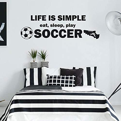 Het leven is eenvoudig Eet Slaap Spelen Voetbal Quote Voetbal En Sneakers Muursticker Kwekerij Sport Kamer Decal 24