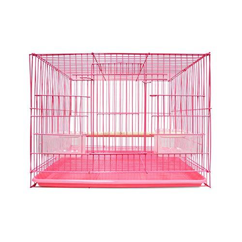 ZZM Visión Jaula Grande para pájaros, Loro Recubierto Jaula de Transporte de Viaje Casa Rectangular Cría de Aves con Jaula portadora con Cuencos de cría y Perca