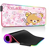Mouse Pads Pink Flowers RGB Mousepad Gaming Cute Bears Led Keyboard Desk Mat Kawaii for Laptop Computer Gamer Office Home,Durable Stitched Edges 800x300x4Mm XL