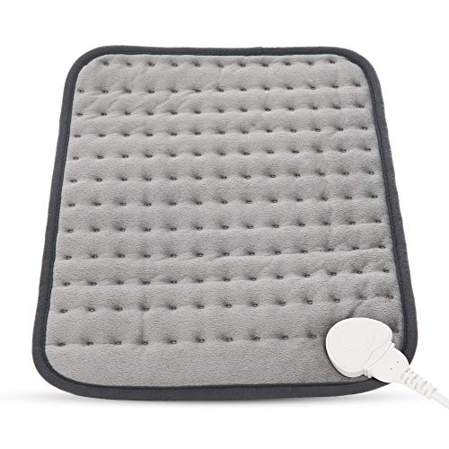 FiNeWaY Electric Heated Fleece Pad Warmer Thermal Back Neck Shoulder Body Mat Pain Relief Therapy 100W - 3 Heat Settings with 90 Minutes Auto Off with Fleece Cover 110w Grey
