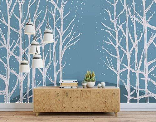 Papel pintado minimalista de árboles pintados a mano azul Papel pintado no tejido Mural de efecto 3D Pared Pintado Papel tapiz 3D Decoración dormitorio Fotomural sala sofá mural-300cm×210cm