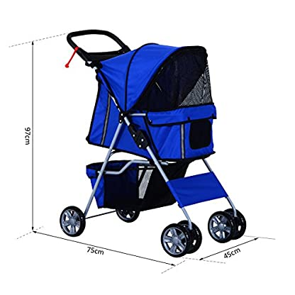 PawHut Pet 4 Wheels Travel Stroller Dog Cat Pushchair Trolley Puppy Jogger Folding Carrier (Blue) 3
