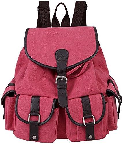 &ZHOU Sac en toile, Hommes et femmes sac à dos sac à dos pure couleur grande capacité polyvalente Voyage Loisirs voituretables