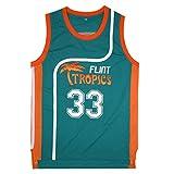 BOROLIN Mens Basketball Jersey #33 Jackie Moon Flint Tropics 90s Movie Shirts (Green, Medium)