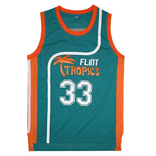 BOROLIN Playera de baloncesto para hombre, #33 Jackie Moon Flint Tropics 90s Movie Shirts - Verde - X-Large