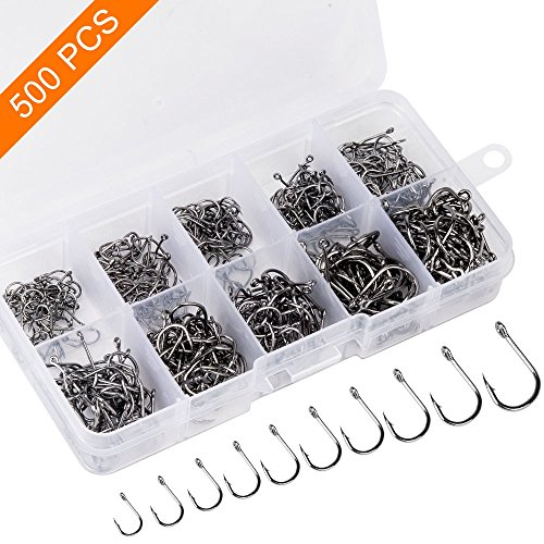 500PCS Premium Fishhooks, 10 Sizes Reemoo Carbon Steel Fishing Hooks W/Portable Plastic Box, Strong Sharp Fish Hook with Barbs for Freshwater/Seawater