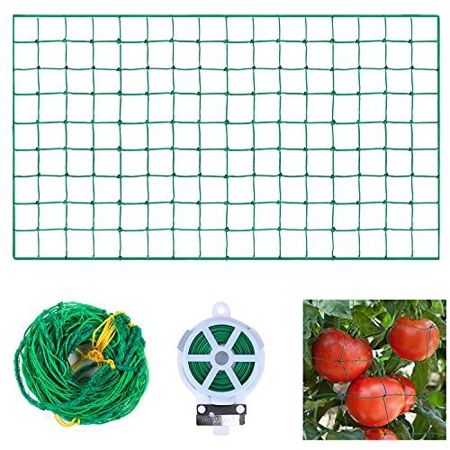 EKKONG Pflanzennetz,ranknetz,ranknetz gewächshaus, Ranknetz für Gurken, Premium Ranknetz mit großer Maschenweite,für Gurken, Tomaten und Rankhilfen für Kletterpflanzen,Maschnweite (1.8 m * 3.6 m)