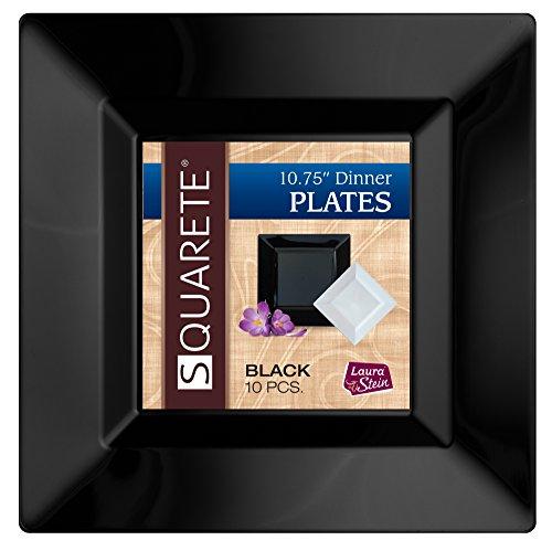 Squarete 10.75'' inch Black Dinner Square Party Plates Hard Plastic Elegant Disposable Heavy Duty. 10 Square Dinner Plates Per Package