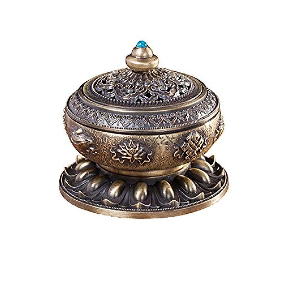 チャネルバッググリルBUYSEEY 家用 アロマ香炉 青銅 ブロンズ 丸香炉 お香立て 渦巻き線香 などに 香立て付き (S)