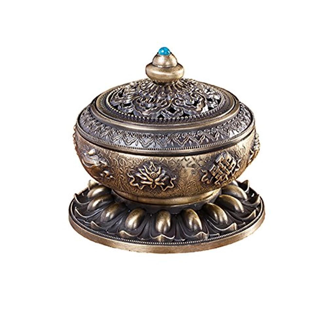 圧倒する唯一文庫本BUYSEEY 家用 アロマ香炉 青銅 ブロンズ 丸香炉 お香立て 渦巻き線香 などに 香立て付き (S)