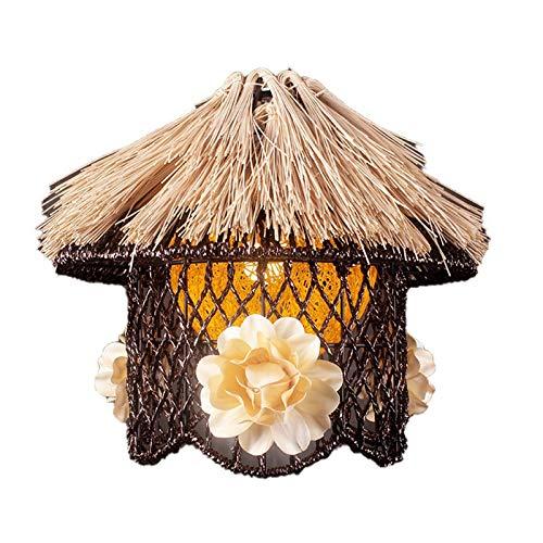 STAGE LIGHTING Araña, araña de Madera Maciza Round Straw Woven Sala de Comedor Dormitorio de Estudio Simple Chandelier [Clase de energía A++]