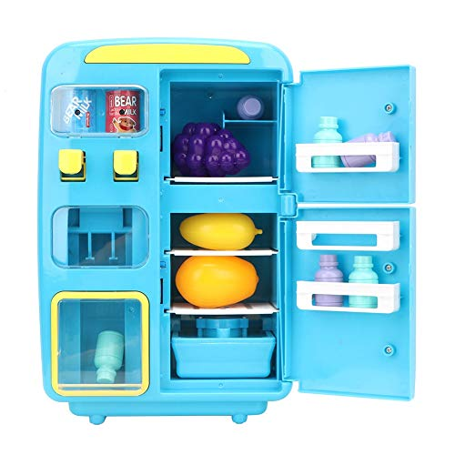 Juego de Cocina de Juguete para niños, Juego de simulación, máquina expendedora de refrigeradores, Juego de Alimentos, Juguetes con luz de Spray y Tono de Llamada(Azul Oscuro)