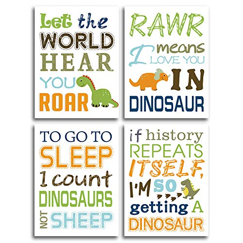 "HPNIUB Watercolor Inspirational Lettering Quote Art Prints Set of 4 (12""X16"" Wildlife Animal Dinosaur Typography Canvas Poster for Kids Baby Bedroom Or Classroom Decor, No Frame"