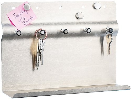 infactory Schlüsselbrett: Schlüssel- und Memo-Bord aus Edelstahl (Schlüsselboard)