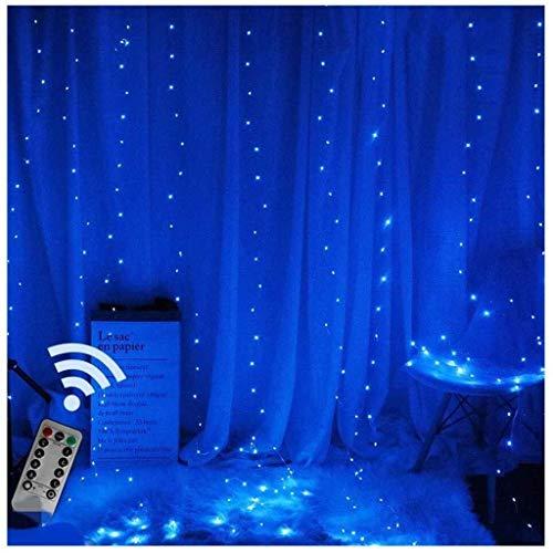 ZBM-ZBM Led-gordijnverlichting, USB-snoerlamp, 3 m x 3 m, 300 leds, met afstandsbediening, 8 modi, sterrenlichtketting, voor bruiloft, slaapkamer, Kerstmis, party, bed-overkapping, tuin, terras, outdoor