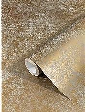 marburg behang goud uni vliesbehang modern, klassiek, weelderig voor slaapkamer, woonkamer of keuken 10,05m x 0,53m Gemaakt in het Duits