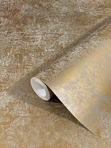marburg Tapete Gold Uni Modern, Klassisch, Opulent für Schlafzimmer, Wohnzimmer oder Küche 10,05m x 0,53m Made in Germany