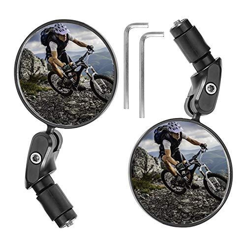 2 Stück Fahrradspiegel - Universal Verstellbar 360° Weitwinkel Fahrradrückspiegel für 17,4-22 mm Flacher Fahrrad Lenker, für Kinder & Erwachsene Ebike Rennräder, Fahrrad Radfahren
