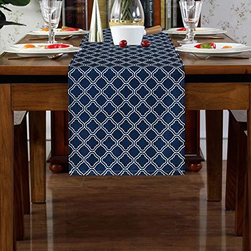 Ikfashoniテーブルランナー ダークブルー幾何学柄テーブルフラグ 食卓ランナー テーブルクロス 撥水 防汚 断熱 滑り止め お手入れ簡単 おしゃれテーブルフラグ 丸洗い 食卓飾り インテリア 結婚式 パーティー ホームデコレーション