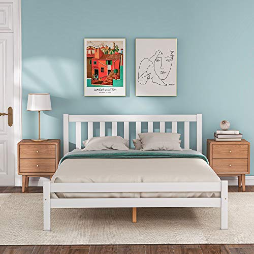 Wooden Double Bed Frames 4FT6 Solid Pine with White Headboard and Footboard for 135 * 190 cm Mattress for Adults, Kids, Teenagers Bedroom