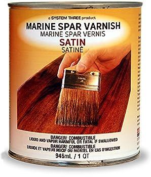 System Three 1855S16 Clear Marine Spar Urethane Varnish Coating 1 Quart Can