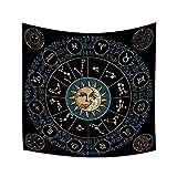 YongFoto 180x180cm Constelaciones Tapiz, Zodíaco Tapices Occidental Tarot Luna Sol Estrellas Azimut Tapiz por Adivinación Habitación Residencia Universitaria Decoración Sofá Cubrir Alfombra
