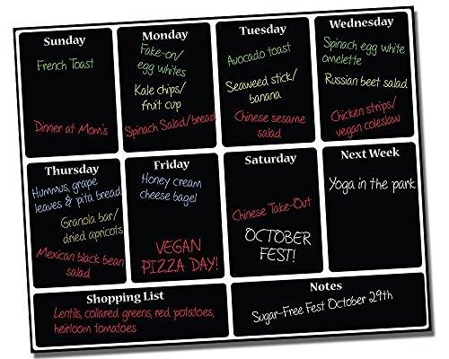 "Meal Planning Calendar ● Menu Planning ● Weekly Meal Planner ● Dry Erase Planner ● Weekly Calendar ● Customer Calendar ● Fitness Calendar ● Use w/Liquid Chalk Markers ● 16"" x 13"" Inches"