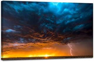 YOOUKEI Large Lightning Strike at Dusk on Tornado Alley Stunning scenerys Art Canvas Print Vintage Painting Poster Home Decor Wall Art Prints Living Room Decoration 24