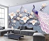 Fototapete 3D Effekt - 3D Tapete - Erleichterung Magnolienblüten Pfau Frisches Vlies 3D Tapete Wallpaper Murals Wandbilder Wand XXL Moderne Wanddeko