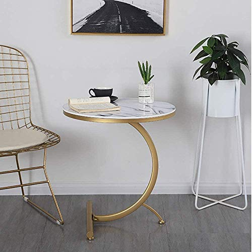 Round Side Table C Shaped Marble Texture Finish End Table Coffee Table Living Room Bedroom Small Spaces Office Bed Sofa Couch White