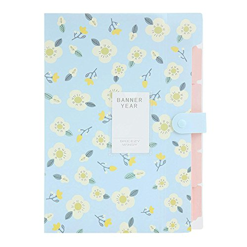 VEVICE Floral - Carpeta organizadora de Documentos, de PVC, de Tipo acordeón, Ideal para organizar Cartas y Documentos, para Oficina, escuelas, etc. 32cm x 24cm Azul