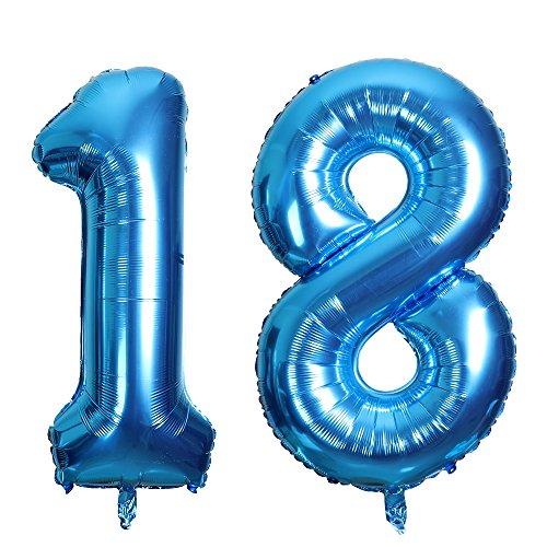SMARCY Globos Número 18 Decoración de Cumpleaños 18 Años Fiesta de Cumpleaños (Azul)