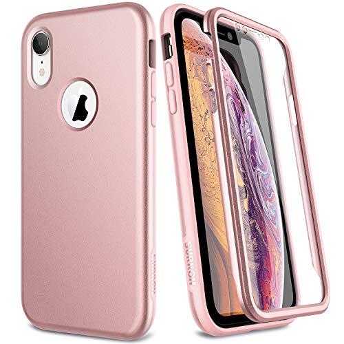 SURITCH Capa para iPhone XR, [Protetor de tela integrado] Capa protetora robusta de proteção total à prova de choque e resistente compatível com iPhone XR de 6,1 polegadas (ouro rosa)