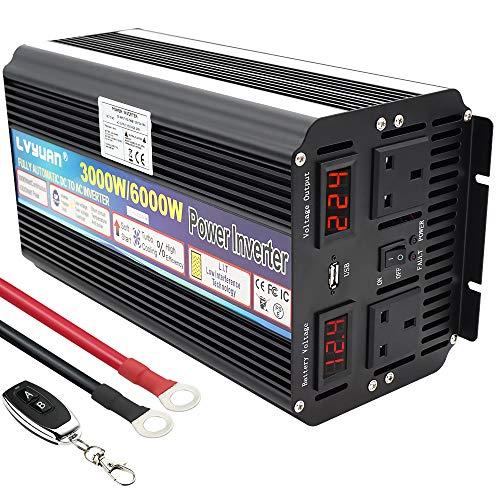 LVYUAN POWER INVERTER 3000W (6000W Peak) DC 12V TO 230V 240V AC Wireless Remote 5V USB PORT WITH...