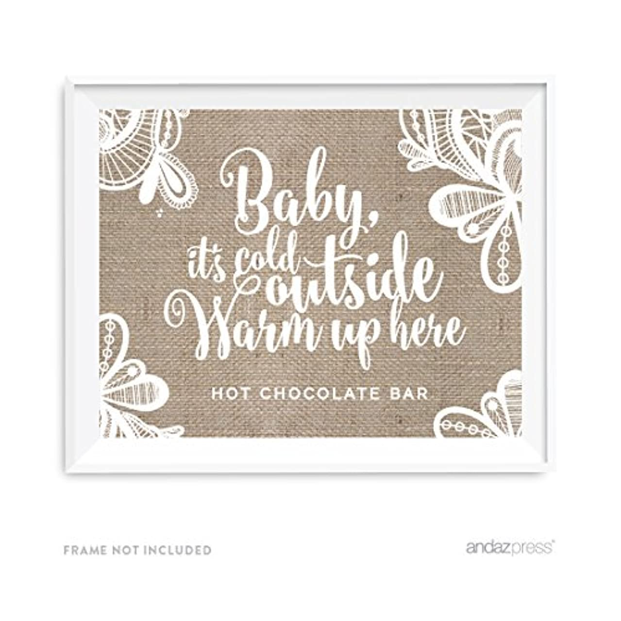 Andaz Press Burlap Lace Print Wedding Collection, Party Signs, Baby It's Cold Outside, Warm Up Here, Hot Chocolate Bar Dessert Tale Sign, 8.5x11-inch, 1-Pack