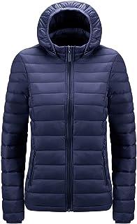 Gutsbox Damski płaszcz puchowy, kurtka przejściowa, pikowana kurtka z kapturem, ciepła kurtka puchowa, płaszcz zimowy, S-XXL