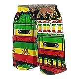 Alvaradod Traje de baño Personalizado para Hombre,El León de Judá Rasta Rastafari Reggae de Jamaica,Ropa de Playa Trajes de baño Pantalones Cortos Trajes de baño M