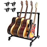 Folding Multi-Guitar Display Rack, Multi-Instrument 5 Guitar Stand Floor Stand Guitar with Rolling for Acoustic Electric Guitar Bass Rack Band Stage Studio or Display- Prevent Collision