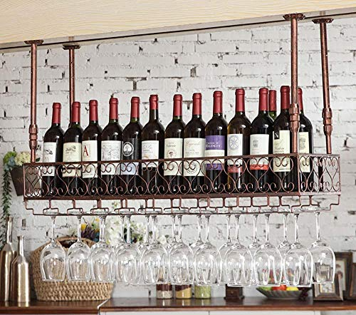 Soporte para copa de vino Soporte para vino boca abajo Bastidores para vajilla Montaje en techo Soporte para botella de vino Copa de metal Estante para copa de vino-bronce_El 100 * 25cm