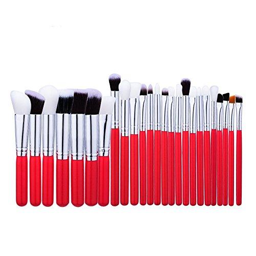 Brosse cosmétiques Profession pinceau de maquillage Set Outils de maquillage Trousse de toilette en nylon brosse cosmétiques Eye brosse 25 en 1 brosse cosmétiques (Couleur : Rouge)