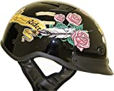 DOT Women's Black Lady Rider Motorcycle Half Helmet with Roses (Size...
