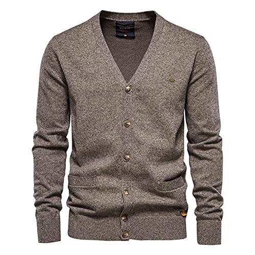 XDJSD Suéteres para Hombres Suéteres De Color Sólido para Hombres Suéteres para Hombres Suéteres Cardigans Casuales Sudaderas con Cuello Redondo para Hombres Suéteres De Camiseta De Manga Larga