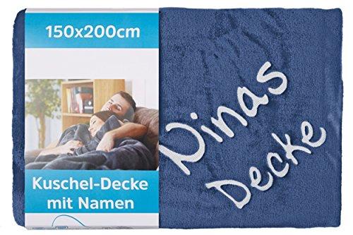 Wolimbo Wohndecke Kuscheldecke mit Namen Bestickt Farbe: dunkelblau Größe: 200x150cm Flauschdecke