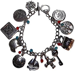 Once Upon A Time TV Series (11 Themed Charms) Silvertone Charm Bracelet