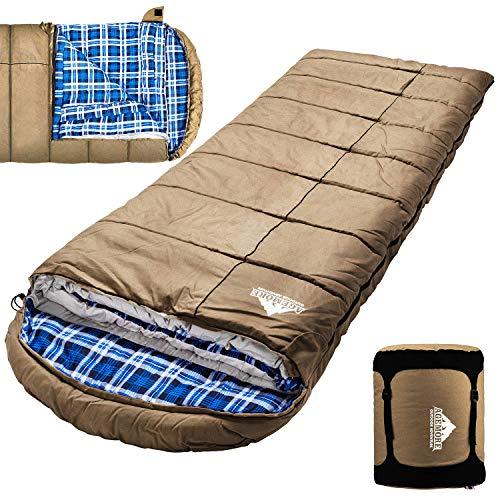 Winter 0 Grad Canvas Schlafsack für Angeln, Jagd, Reisen und Camping besonders im kalten Winter Outdoor mit herausnehmbarem Flanellfutter und gratis Kompressionssack für große und große Erwachsene