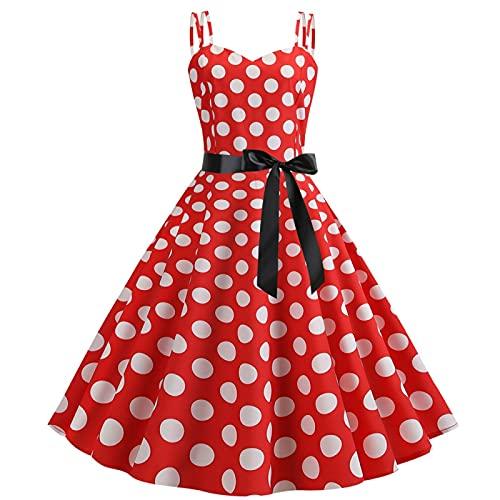 EMPERSTAR Damski Pasek Na Ramię Z Lat 50-Tych Vintage A Line Sukienka W Kropki Swing Wieczorowa Sukienka Koktajlowa Czerwony L