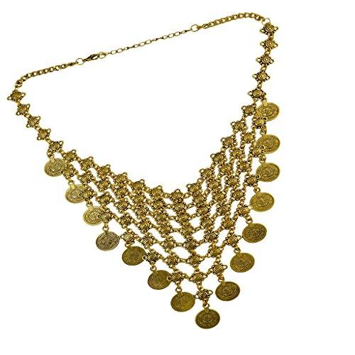 non-brand Bohemia Borla Colgante Collar Monedas Cuelgan Gargantilla Collar Gitano